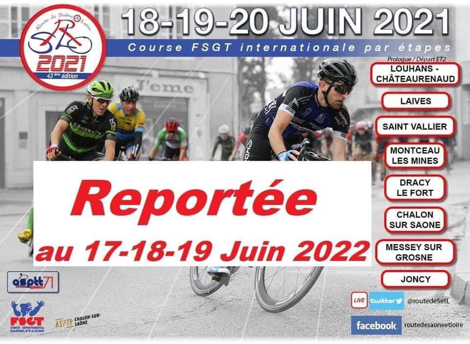 Annulation de la route de Saône et Loire 2021